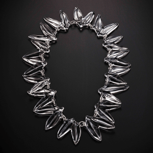 Double Leaf Necklace by Giselle Courtney. Flame formed glass and sterling silver fittings.