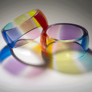 Equality by Laurel Kohut. Rainbow rings pair. Blown and cold worked.