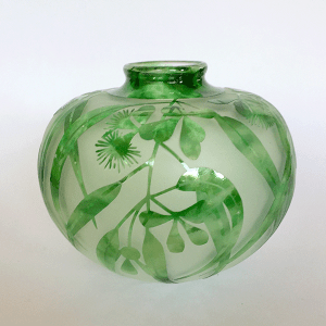 Gum vase (green) by Amanda Louden. Blown and etched glass.
