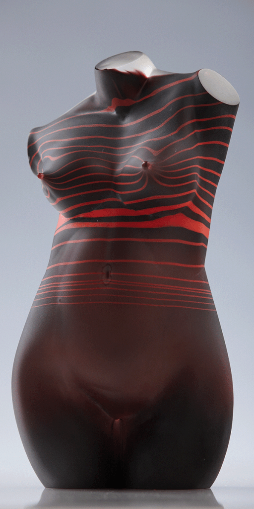 Dark Red Striped Female by Patrick Wong. Hot sculpted and etched glass.