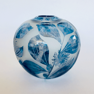Sea Urchin Hakea vase by Amanda Louden. Blown and etched glass.