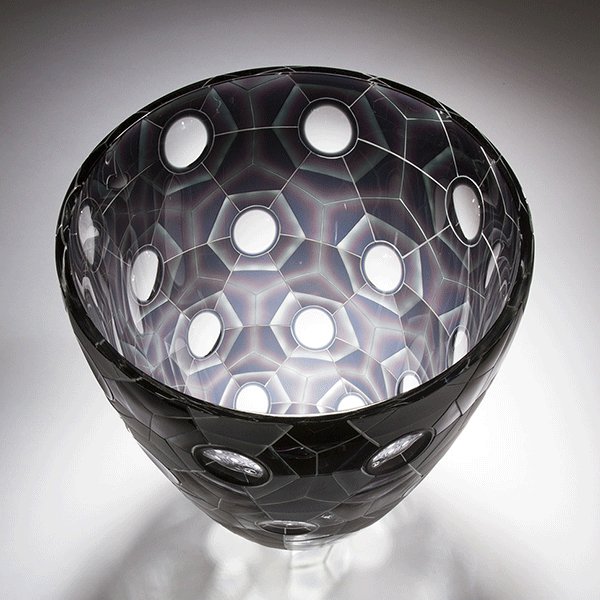 Altered Dimensions by Kevin Gordon. Blown and carved glass. Interior view