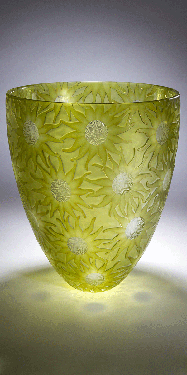 Summertime by Kevin Gordon. Blown and carved glass vessel.
