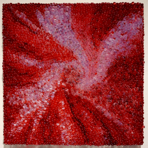 Firebush #3 by Emma Varga. Mosaic wall panel, assembled into stainless steel frame. H 48cm x W 48cm x D 3cm