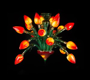 'Tulip Fever' by Tim Shaw. Blown and sculptured glass chandelier with plated brass fittings. H 114cm x W 190cm