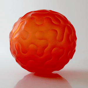'Unravelled' sphere by Ben Edols and Kathy Elliott. Blown and carved glass. H 23cm x D 23cm