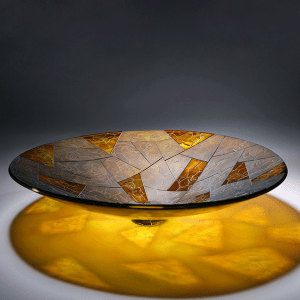 'Fragments' bowl by Kevin Gordon. Blown and Carved glass. H 10cm x W 40cm