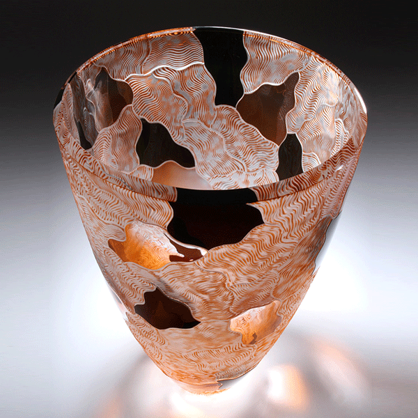 ' Sands' carved vessel by Kevin Gordon. Blown and Carved glass. H 33cm by W 23cm