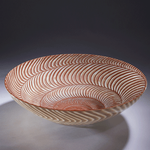 ' Shell Bowl' by Kevin Gordon. Blown and carved layered glass. H 13cm x W 38cm