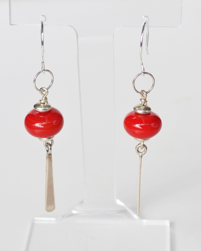 Red and silver drop earrings by Su Bishop. L 8cm Beads D 1.5cm. Sterling silver fitting