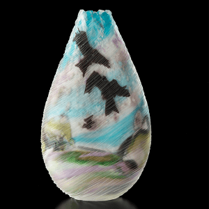 'Swoop' side 2 . Blown and carved glass. H 52cm x W 28cm x D 10cm