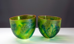 'Reef Bowls' pair by Robert Wynne. Blown, fumed glass. H 24.5 x W 25.5 each