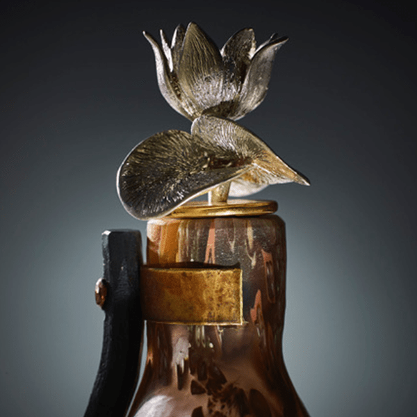 Detail of Copper Coral Lotus Bottle by Elaine Miles