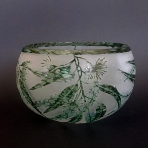 Wind blown Gum bowl by Amanda Louden. Handblown and etched glass. H 12cm x W 18cm