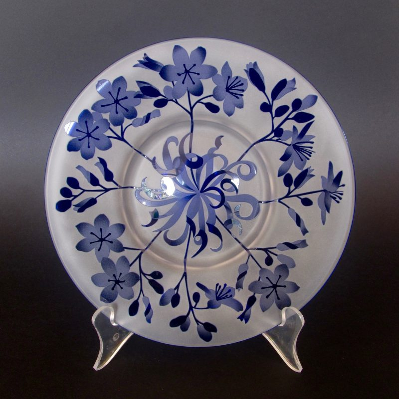 Blue Squill -Chamaescilla spitalis plate. Handblown and etched by Amanda Louden. H 1.5cm W 20cm