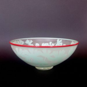 Austral Cranesbill - Geranium solanderi bowl by Amanda Louden. Handblown and etched glass. H 10.5cm x W 26cm