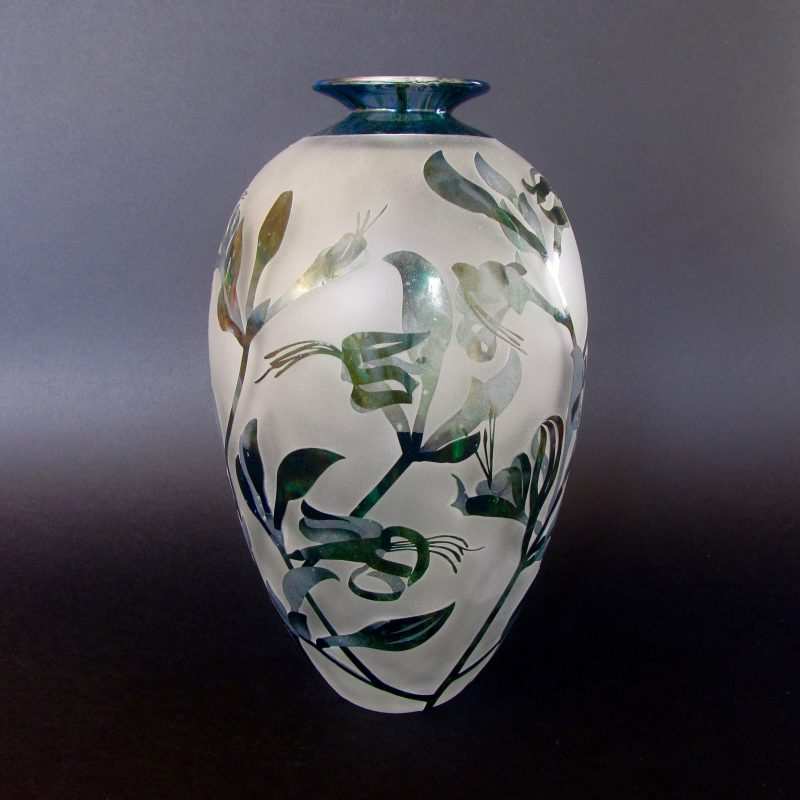 Black Kangaroo Paw - Macropedia fuliginosa vase. Handblown and etched glass by Amanda Louden. H 23.5cm W14cm