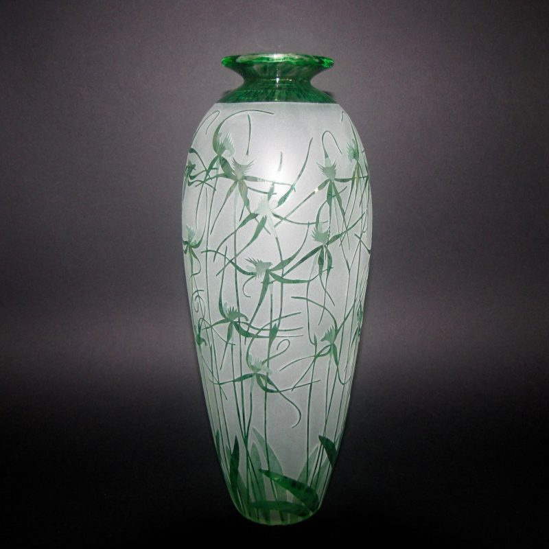 Spider Orchids - Caladenia sp. vase. Handblown and etched by Amanda Louden. H 32cm W 12cm