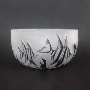 Old Wife fish bowl. Handblown and etched glass by Amanda Louden H 11cm W 19cm
