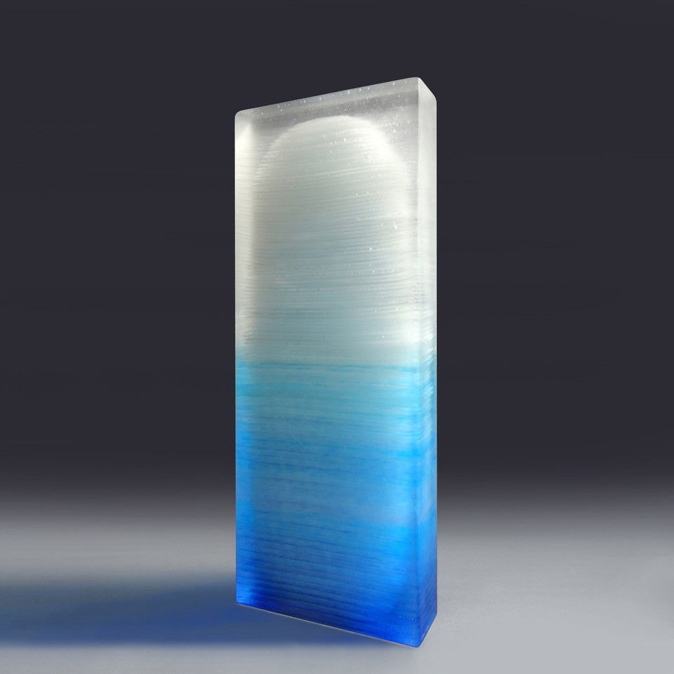 Frozen #1 by Emma Varga Hand polished multi-layered fused glass H 55cm x W 21cm x D 6cm