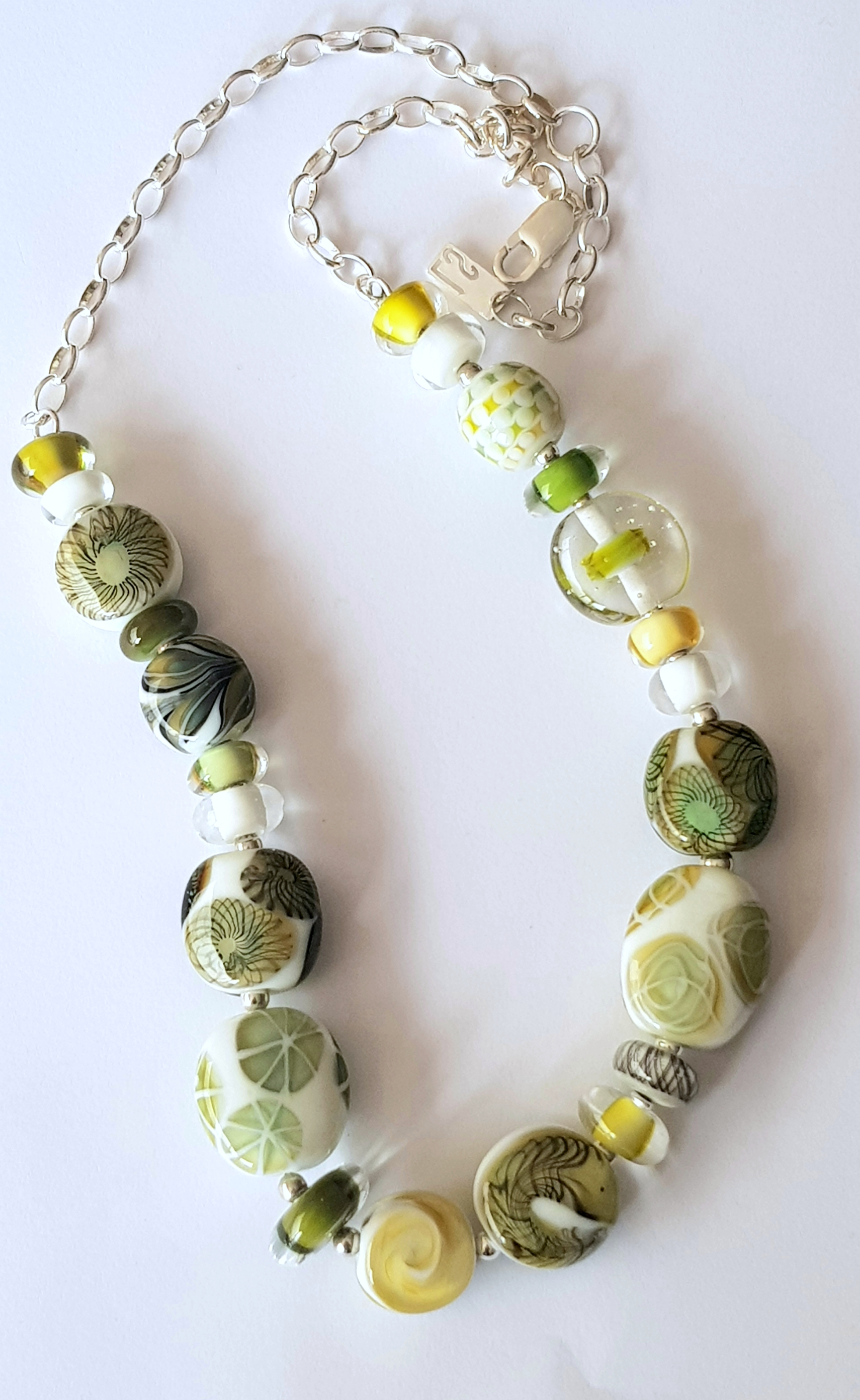 Garden necklace in greens and white by Lisa Simmons