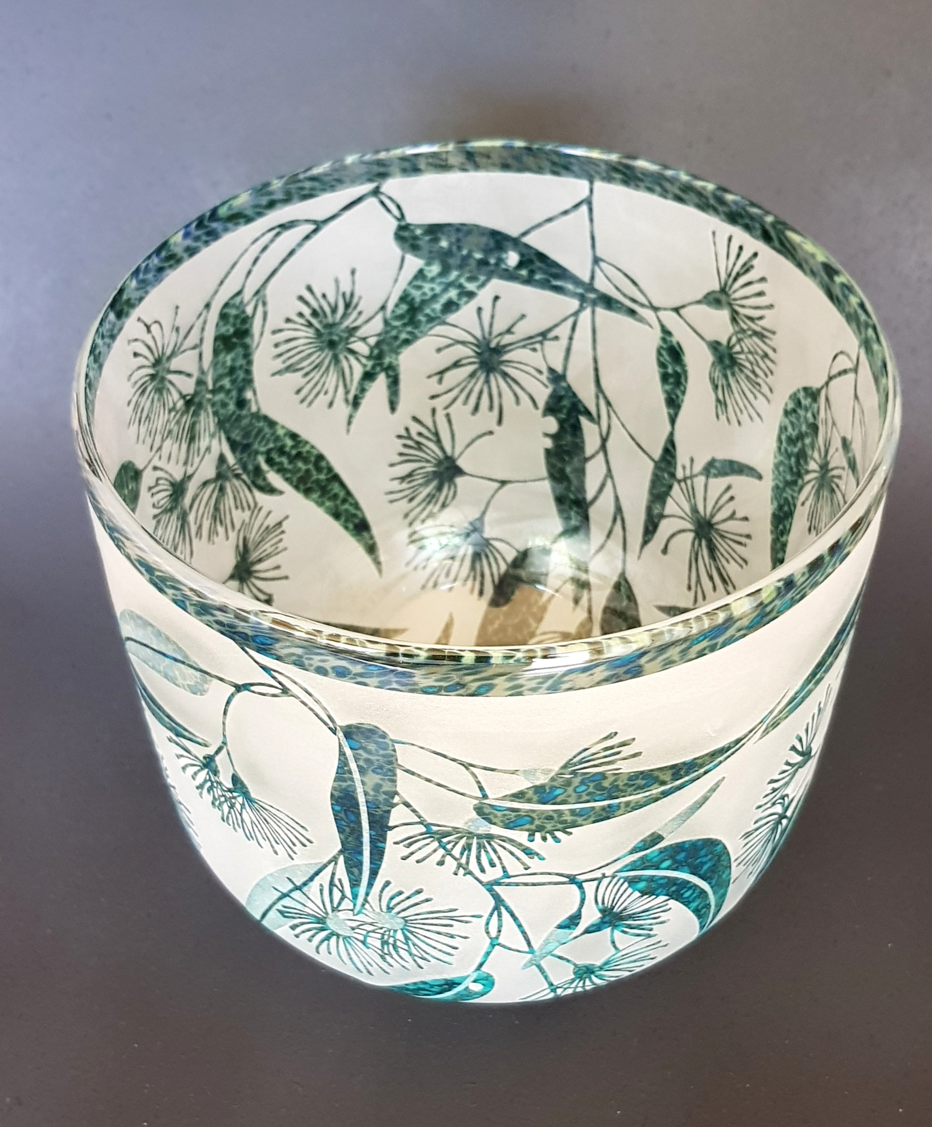 Flowering gum bowl by Amanda Louden. Blown and etched glass. H 16.5cm x W 18cm