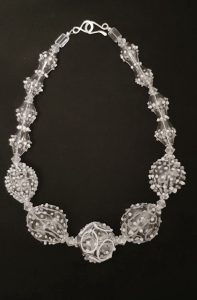Grey and white necklace by Susie Barnes