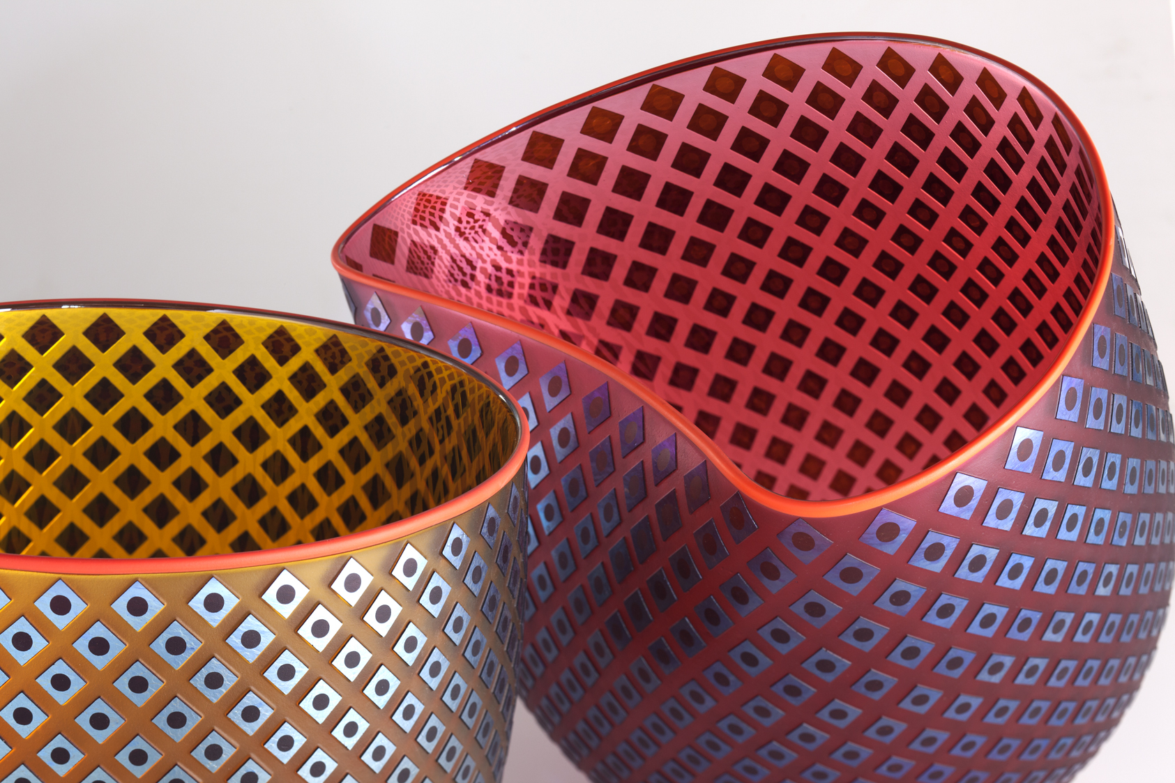 "Woven Light ""Flux Bowls"" pair by Robert Wynne"