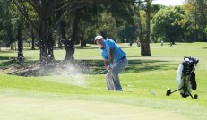 Trevor McDonald hits it to within inches from a bunker