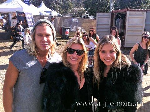 Aje designers Eddi and Adrian with Kate Moss