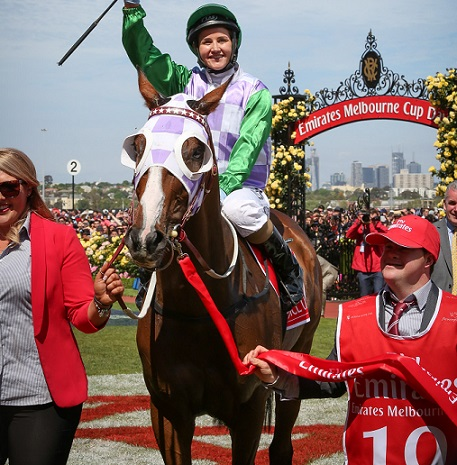 Michelle Payne and her winning mount Prince of Penzance
