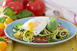 Pesto Zucchini Pasta with Eggs