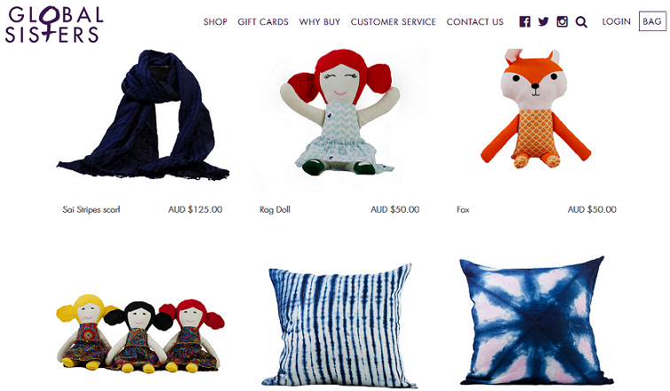 Screenshot of the Global Sisters online shop