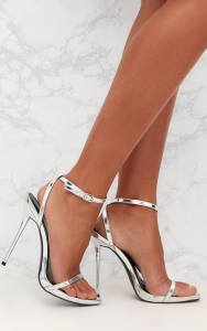 Silver Patent PU Single Strap Stilleto Sandals