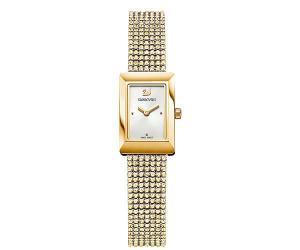 Swarovski Memories Watch, Crystal Mesh strap, White, Gold tone White Gold-plated