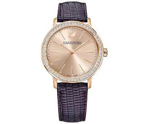 Swarovski Graceful Lady Watch, Leather strap, Purple, Rose gold tone White Rose gold-plated
