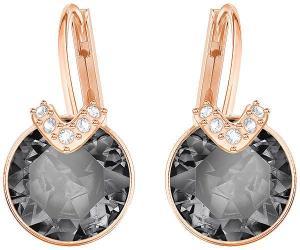 Swarovski Bella V Pierced Earrings, Gray, Rose gold plating Gray Rose gold-plated