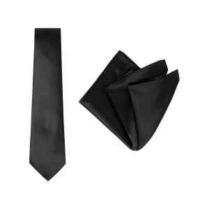 Tie and Pocket Square Plain Black