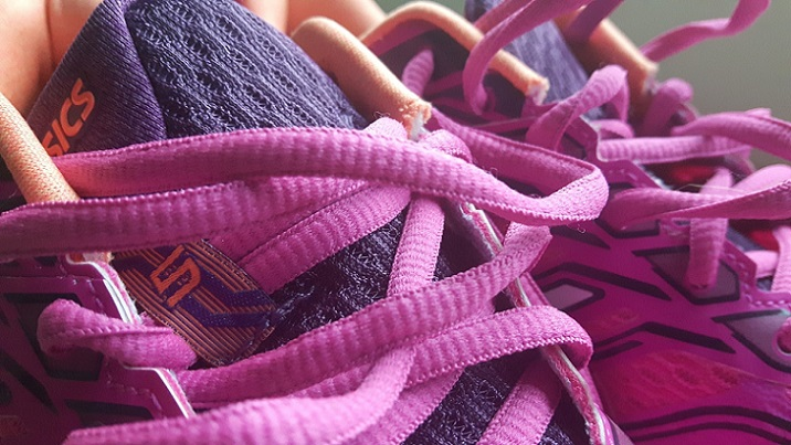 Asics pink running shoes.
