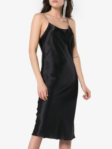 MICHAEL LO SORDO Silk Chain Strap Slip Dress