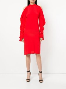 STRATEAS CARLUCCI Exposed Orchid ruffled-sleeve dress $600|20% off$480