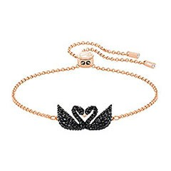 Swarovski Iconic Swan Bracelet, Black, Rose Gold Plating Black Rose gold-plated