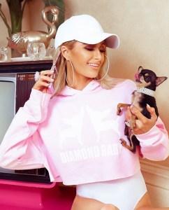 Paris Hilton Diamond Baby Slogan Crop Hoody