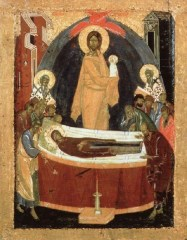 Dormition of the Virgin Theophanes the Greek c. 1392 tempera on wood 34 x 27 in Tretyakov Gallery, Moscow, Russia