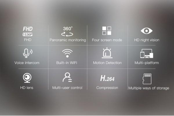 3MP Panorama Camera WIFI Wireless Fish eye Two Way Audio Security System 3