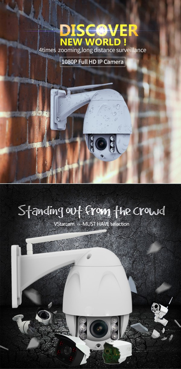 PTZ Dome Camera 4 times Zoom P2P 1080P Onvif IR 30m Full HD CCTV Outdoor Camera 2