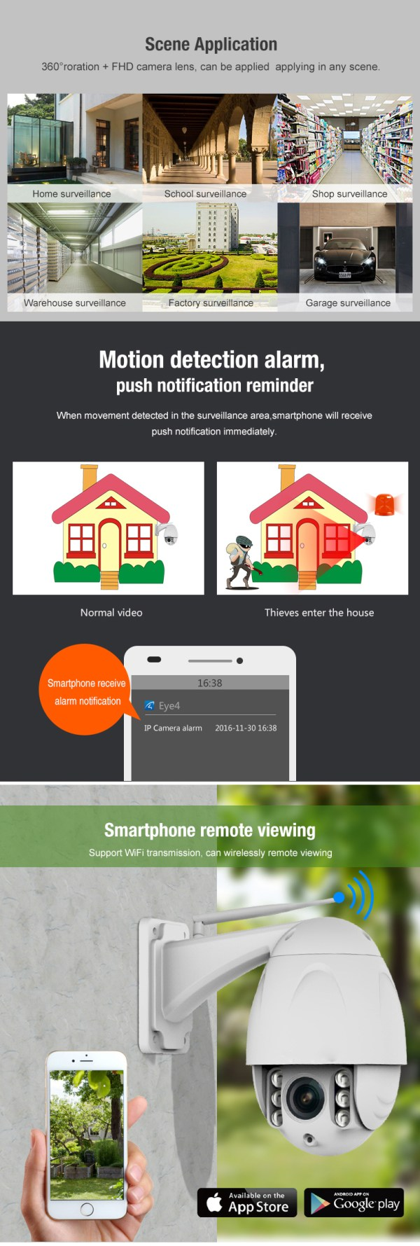 PTZ Dome Camera 4 times Zoom P2P 1080P Onvif IR 30m Full HD CCTV Outdoor Camera 10