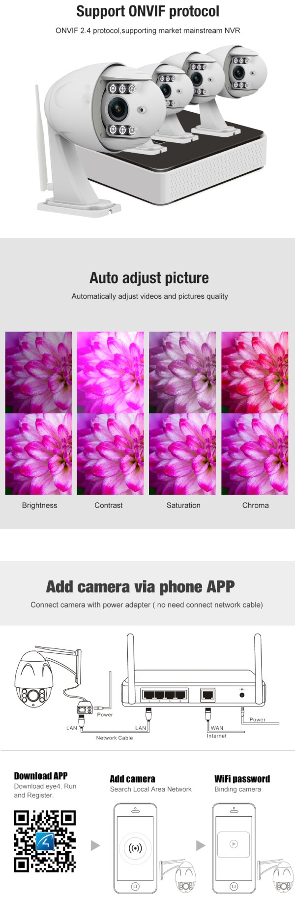 PTZ Dome Camera 4 times Zoom P2P 1080P Onvif IR 30m Full HD CCTV Outdoor Camera 11