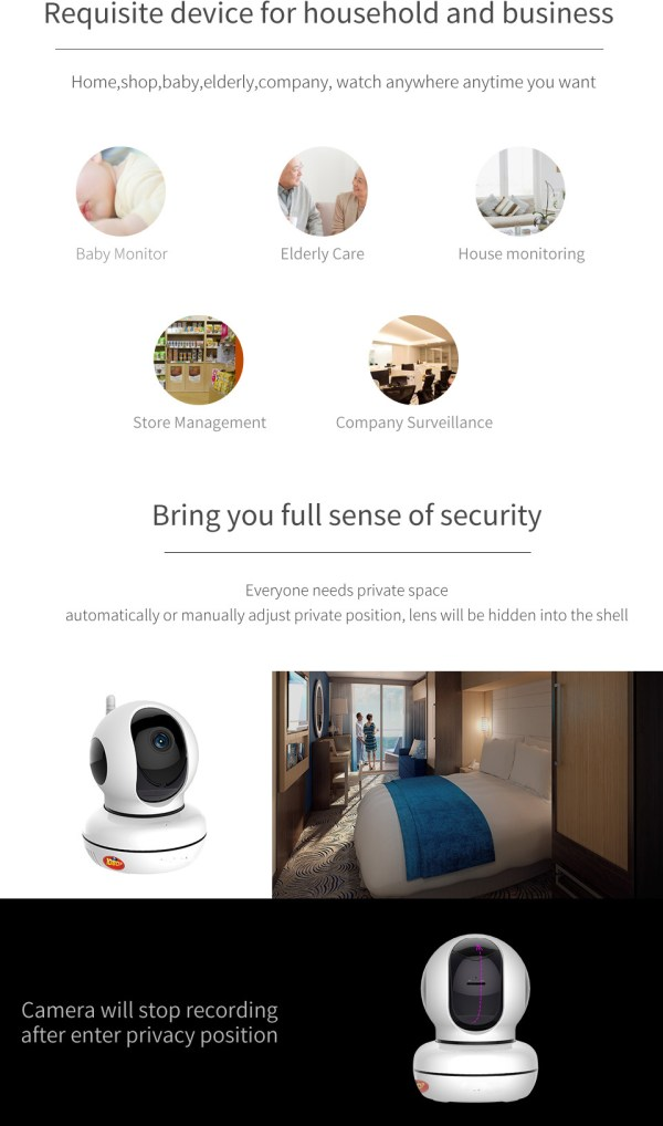 Privacy Network Camera WIFI p2p Two way Audio Home Security Surveillance Camera 3
