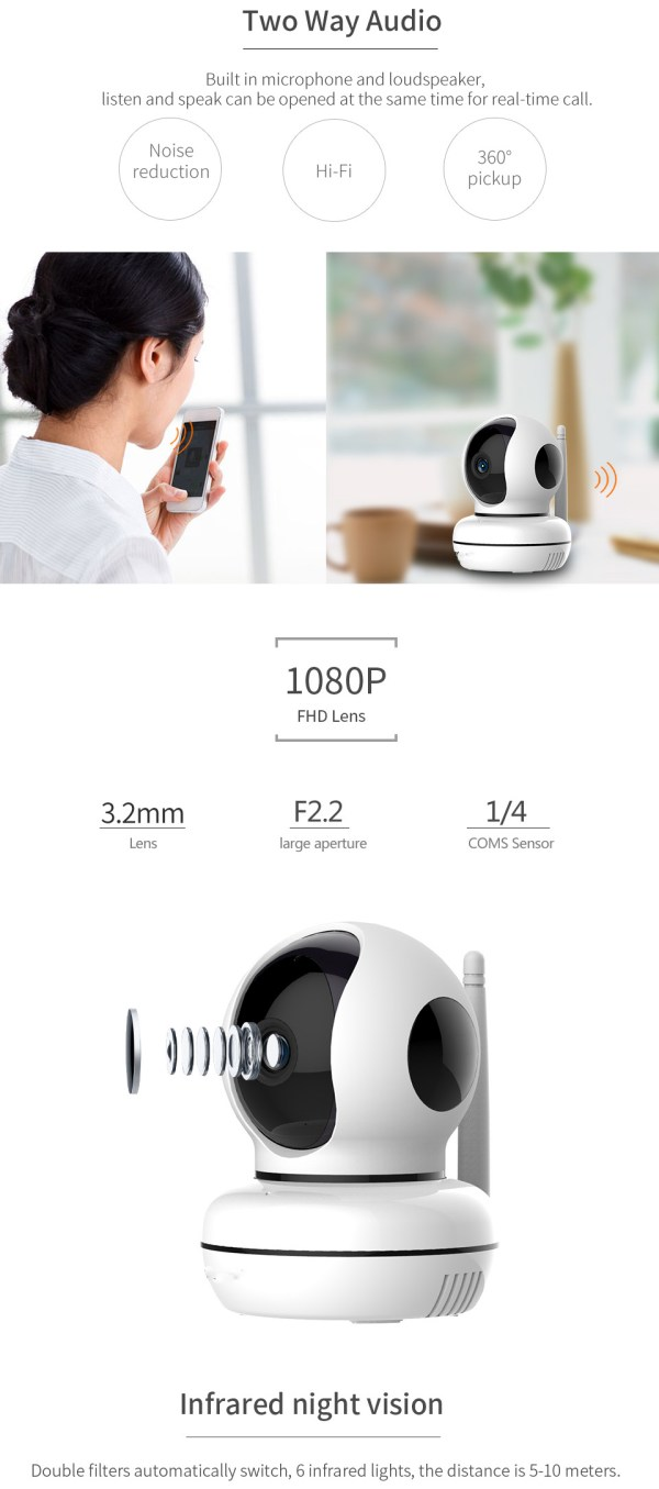 Privacy Network Camera WIFI p2p Two way Audio Home Security Surveillance Camera 4
